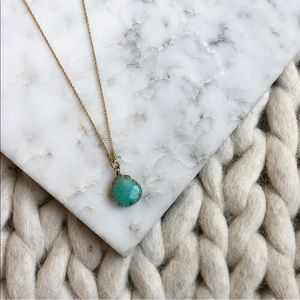 Jewelry - Turquoise Gold Checkered Stone Dainty Necklace